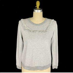 The Great Gray Shrunken Ruffle Bib Sweatshirt